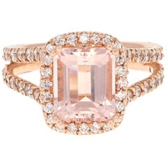 3.94 Carat Morganite Diamond Rose Gold Engagement Ring