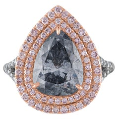 3.94 Carat Pear Shape GIA Certified Fancy Light Gray Blue Platinum Diamond Ring