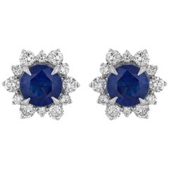 3.94 Carat Sapphire Diamond Earrings