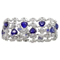 39.45 Carat Heart Shape Sapphire and White Diamonds Cuff Bracelet