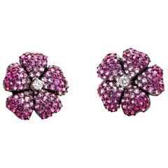 3.95 Carat 18 Karat White Gold Pink Sapphire Diamond Flower Stud Earrings