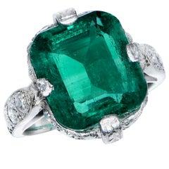 3.95 Carat Colombian No Oil Emerald Diamond Platinum Ring