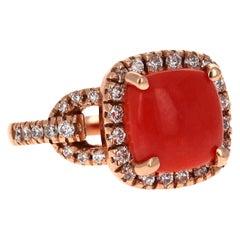 3.95 Carat Coral and Diamond 14 Karat Rose Gold Cocktail Ring