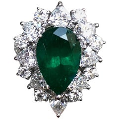 3.95 Carat Pear Cut Colombian Emerald Ring with Detachable Diamond Adorned Shank