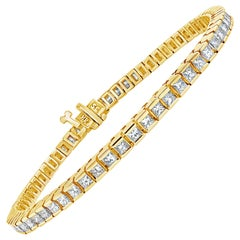 3.95 Carat Princess Cut Diamond Tennis Bracelet