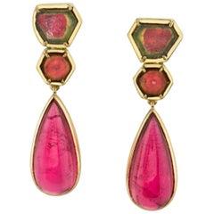 39.55 Carat Pink and Watermelon Tourmaline 18k Yellow Gold Drop Earrings