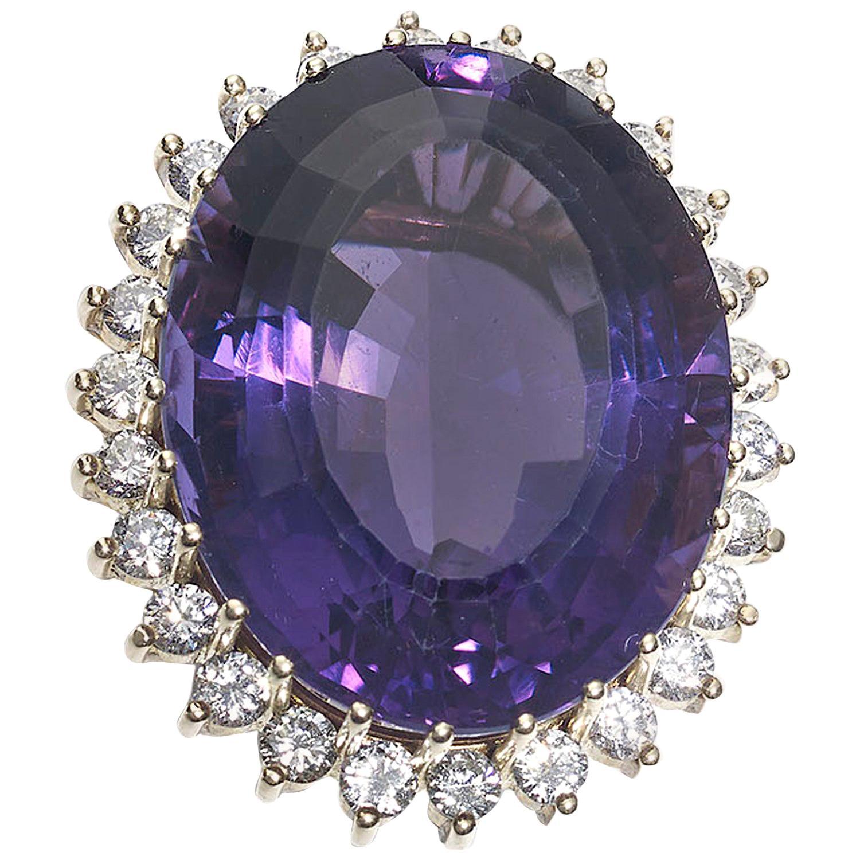39.56 Carat Amethyst Diamond and Gold Ring, circa 1970