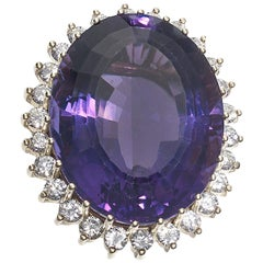 39.56 Carat Amethyst Diamond and Gold Ring, circa 1970