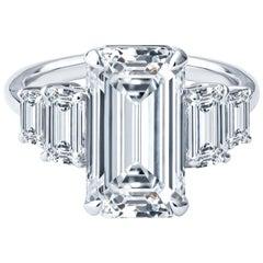 3.95ct Elongated Emerald Cut Diamond w 1.35ctw in Emerald Cut Side Diamonds, GIA
