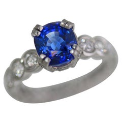 3.96 Carat Cushion Blue Sapphire and Diamond Ring Platinum, Ben Dannie
