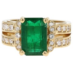 3.96 Carat Emerald Diamond 18 Karat Yellow Gold Engagement Ring GIA Certified