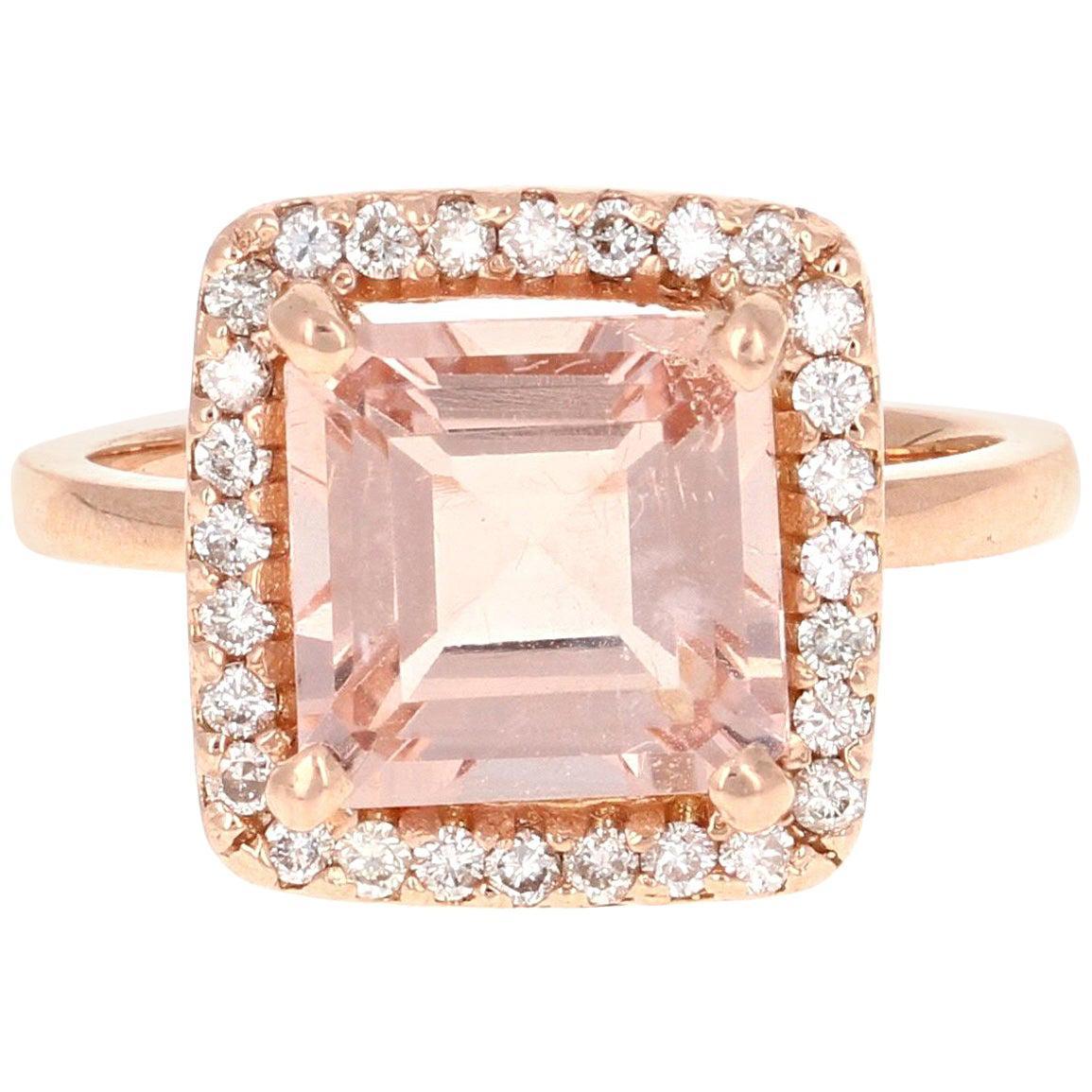 3.96 Carat Morganite Diamond 14 Karat Rose Gold Enagement Ring