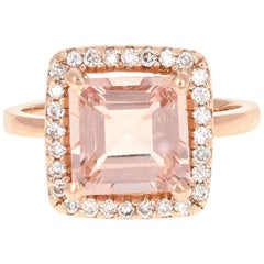 3.96 Carat Morganite Diamond 14 Karat Rose Gold Enagement Ring