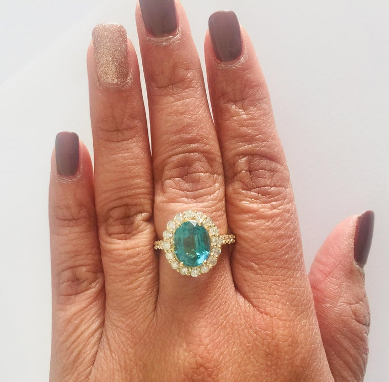 3.96 Carat Oval Cut Apatite Diamond 14 Karat Yellow Gold Engagement Ring For Sale 1