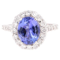 3.96 Carat Tanzanite Diamond 14 Karat White Gold Ring