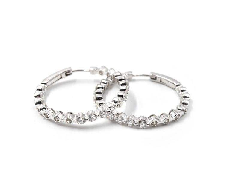 Round Cut 3.96 Carat Round Diamond Inside/Outside 18 Karat White Gold Hoop Earrings For Sale