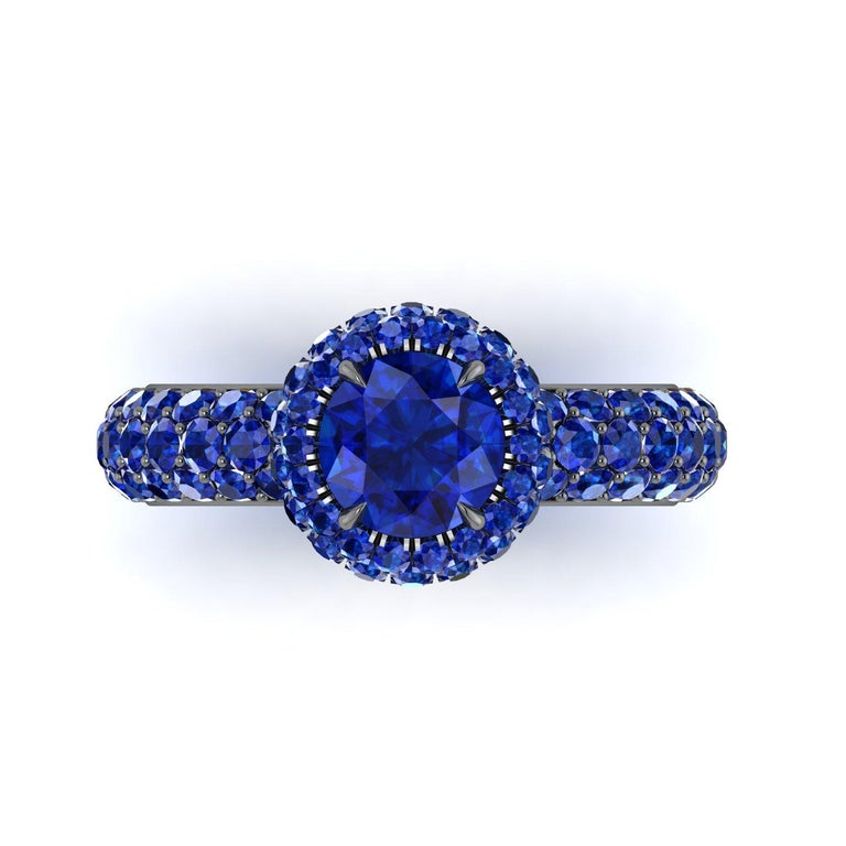 Art Nouveau 3.96 Ct Round Blue Sapphire with Sapphire Halo 18k Black Gold Eternity Pave Ring For Sale