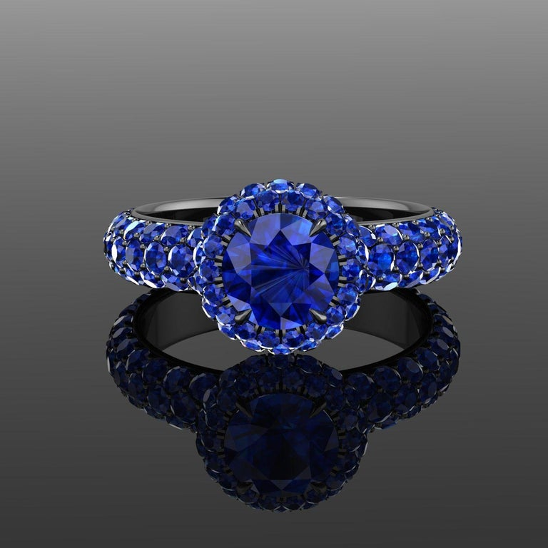 Round Cut 3.96 Ct Round Blue Sapphire with Sapphire Halo 18k Black Gold Eternity Pave Ring For Sale
