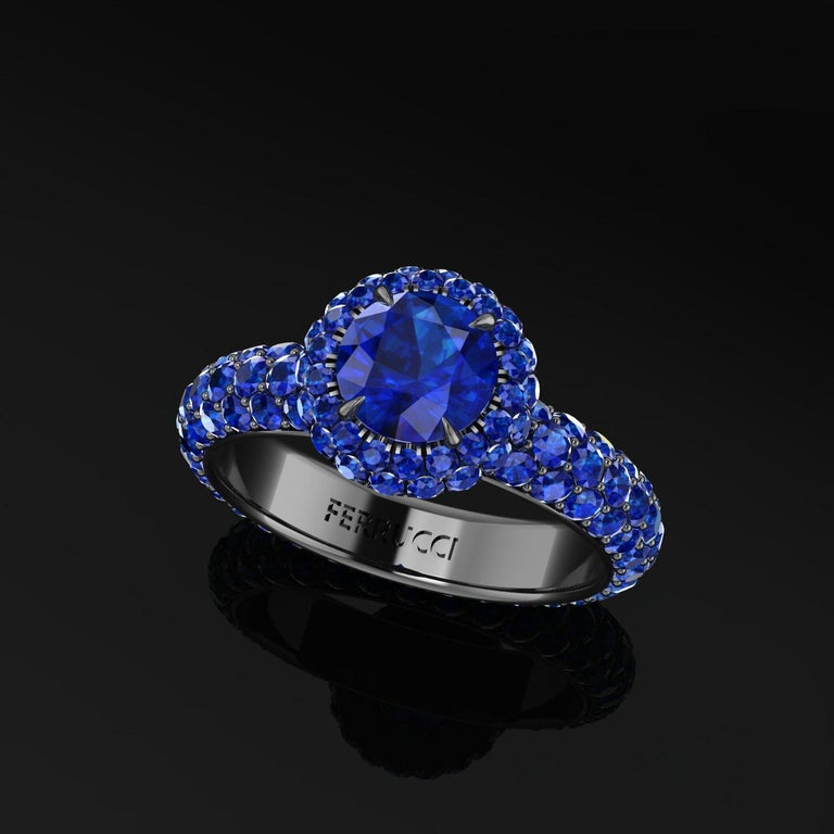 3.96 Ct Round Blue Sapphire with Sapphire Halo 18k Black Gold Eternity Pave Ring For Sale 1