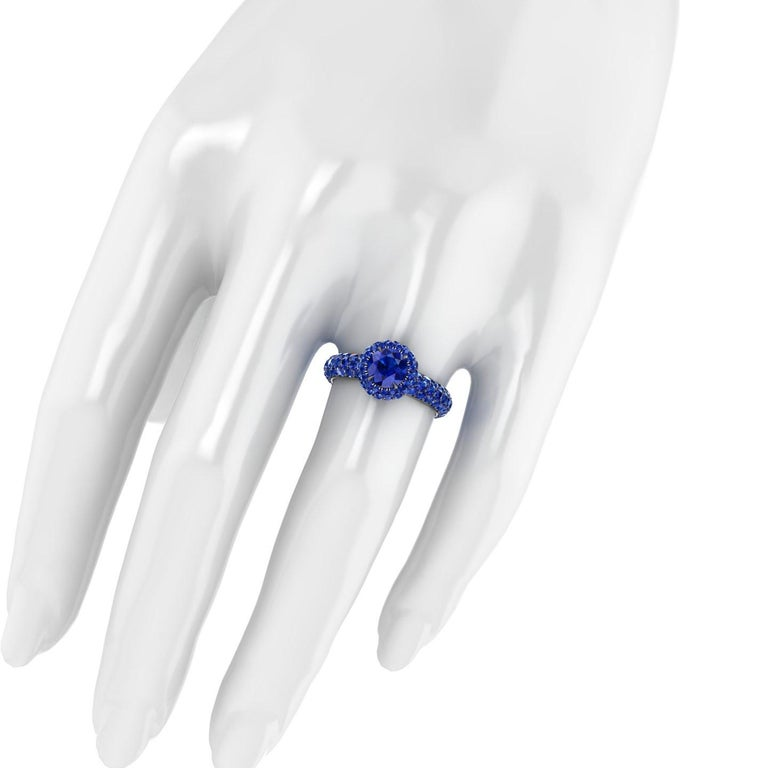 3.96 Ct Round Blue Sapphire with Sapphire Halo 18k Black Gold Eternity Pave Ring For Sale 2