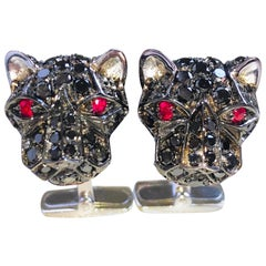 3.96 Karat Black Diamond 0.23 Karat Ruby Eyes Cougar Head Shaped Gold Cufflinks
