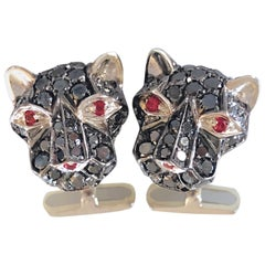 Berca 3.96Kt Black Diamond 0.23Kt Red Ruby Eyes Cougar Shaped Gold Cufflinks
