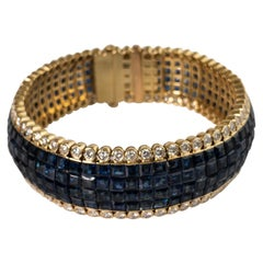 39.62 Carat Blue Sapphire and 6.2 Carat Diamond Bracelet in 18 Karat Yellow Gold