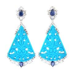 39.63 Carat Carved Turquoise Diamond 18 Karat Gold Earrings