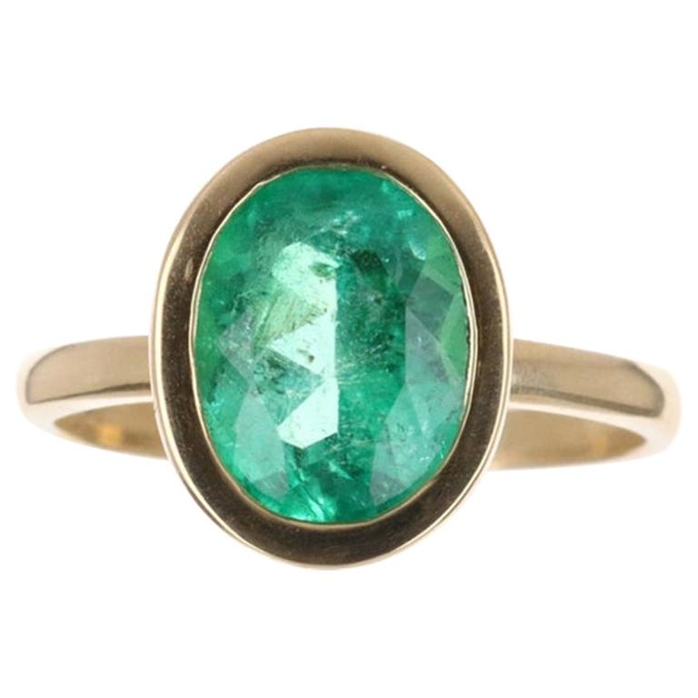3.96cts 18K Bezel Set Oval Cut Emerald Solitaire Engagement Ring