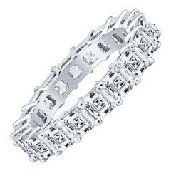3.96ctw in Asscher Cut Diamonds Platinum Eternity Band