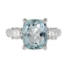 3.97 Carat Bright Blue Aqua Diamond Gold Three-Stone Engagement Ring