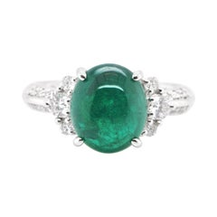 3.97 Carat, Natural, Colombian Emerald Cabochon and Diamond Ring Set in Platinum