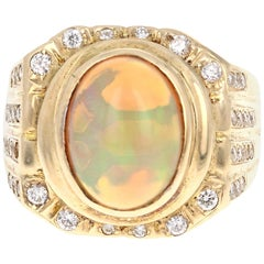 3.97 Carat Opal Diamond 14 Karat Yellow Gold Art Deco Men's Ring