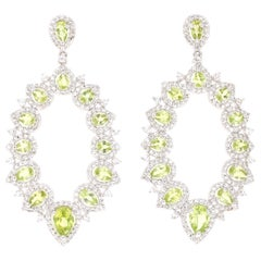 3.97 Carat Peridot White Topaz Silver Earrings