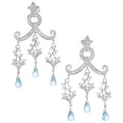 3.97 Carat Topaz Diamond Gold Dangle Chandelier Dangle Earrings