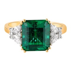 3.97 Carat Zambian Emerald Ring in 18 Karat Yellow Gold with White Diamonds