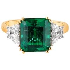 3.97 Carat Zambian Emerald & White Diamond Ring in 18 Karat Yellow Gold