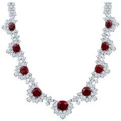 39.74 Carat Burma Ruby and 49.56 Carat Diamond Floral Necklace in Platinum