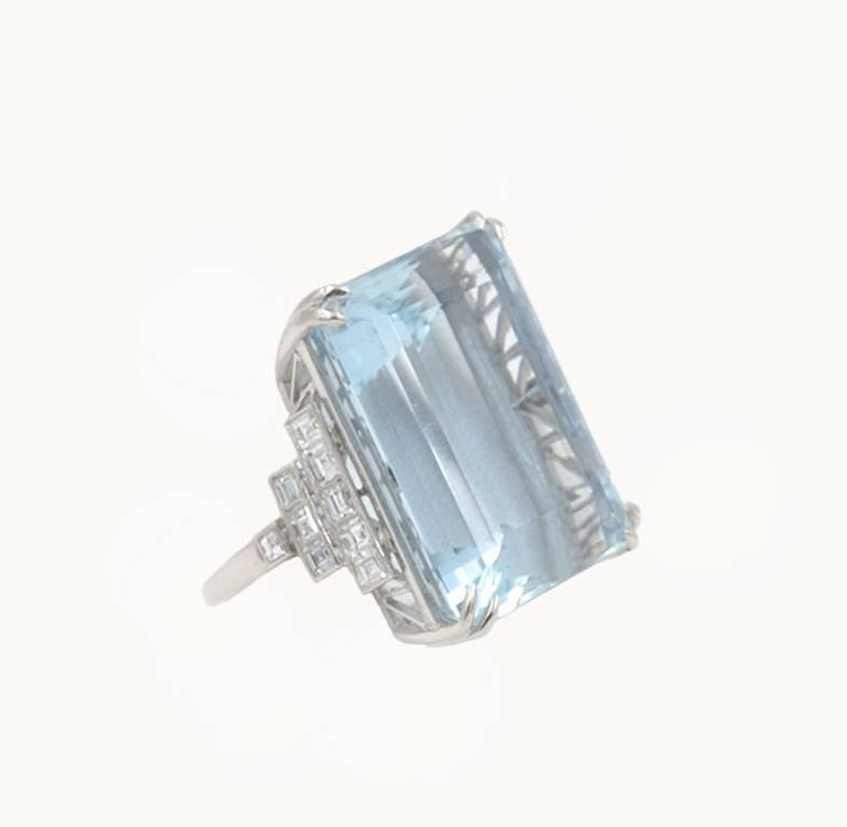Women's 39.78 Carat Aquamarine and Diamond Platinum Ring For Sale