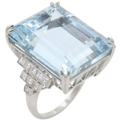 39.78 Carat Aquamarine and Diamond Platinum Ring