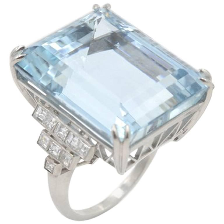 39.78 Carat Aquamarine and Diamond Platinum Ring For Sale