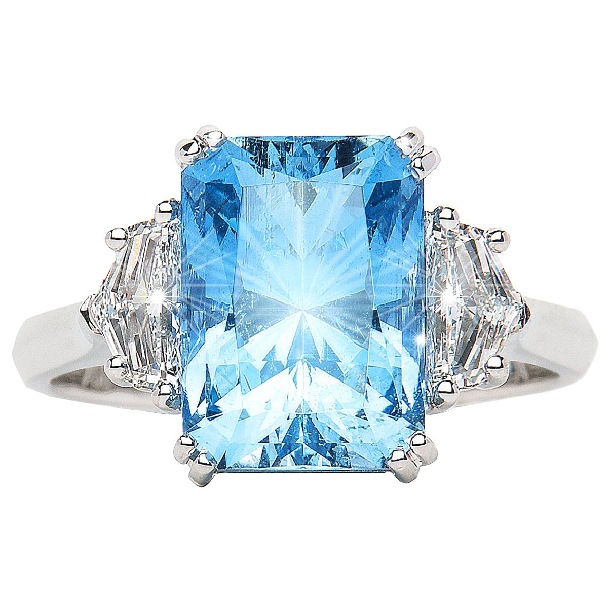 3.98 Carat Aquamarine Emerald Cut Diamond Three-Stone Ring Natalie Barney