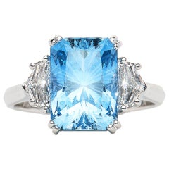 3.98 Carat Aquamarine Emerald Cut Diamond Three-Stone Ring Natalie Barney