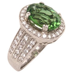 3.98 Carat Chrome Tourmaline and Diamond Gold Ring