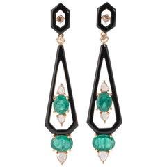 3.98 Carat Emerald, Diamond and Black Onyx Dangle Earring