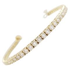 3.98 Carat Round Brilliant Natural Diamond Tennis Bracelet 14 Karat Yellow Gold