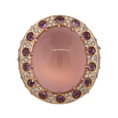 39.80 Carat Quartz Cabochon Multi Stone Dome Ring 18 Karat in Stock