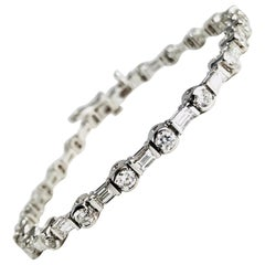 3.99 Carat Diamond Tennis Bracelet in 18 Karat White Gold