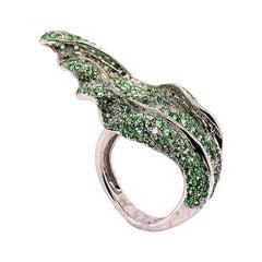 3.99 Carat Green Tsavorite and White Diamond Leaf Ring