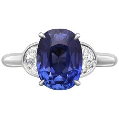 3.99 Carat Old Cushion Cut Sapphire in Platinum Half-Moon Diamond Ring, Hancocks